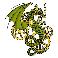 Vector image of a mechanical dragon head crossed with a gear in a steampunk style in a single color, can be used for a logo.