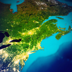 Wall Mural - New England USA and Canada map