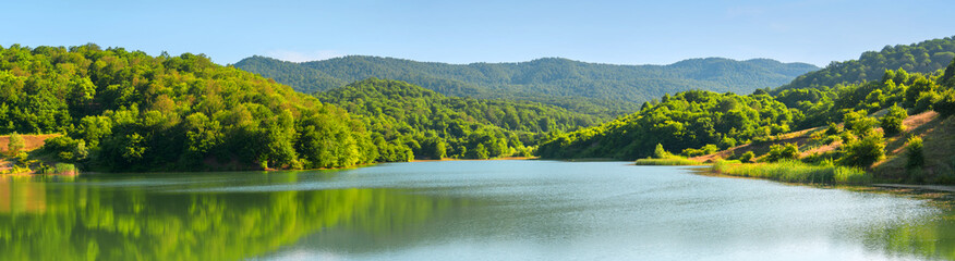 Panoramas of mountains of forests and lakes.Azerbaijan.Caucasus