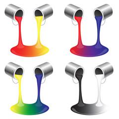 Paint Buckets Pouring Paint Colors that Mix