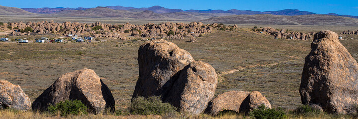 Panorama of City of Rocks State Park in southern New Mexico