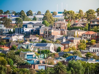 View of residential houses in Melbourne's suburb on a hill. City of Maribyrnong, VIC Australia. Wall mural