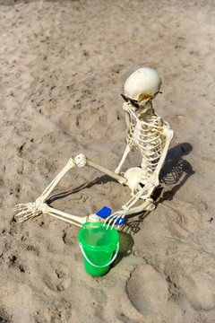 Skeleton sits on the beach playing in the sand with a bucket and shovel
