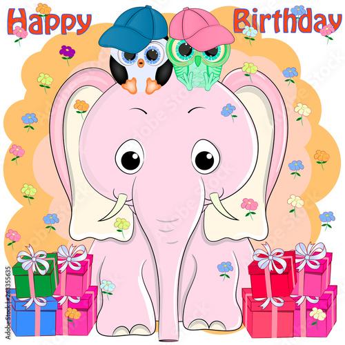 Birthday Greeting Card Pink Elephant And Birds Cartoon Vector Illustration