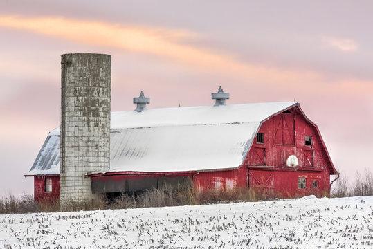 Winter Barn at Sundown - Barn and Silo at Sunset with Basketball Hoop and Snow