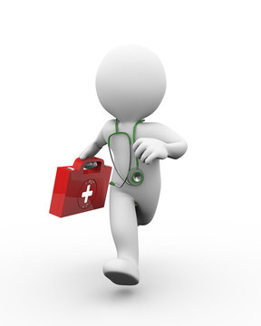3d doctor running with first aid kit