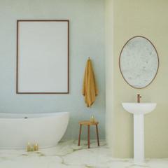 Mock up poster in modern bathroom. 3d render.