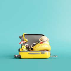 Yellow suitcase with traveler accessories on blue background. summer travel concept. 3d rendering