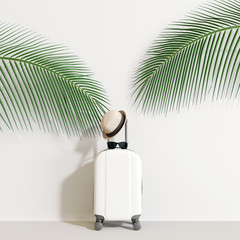 Wall Mural - Suitcase with traveler accessories and coconut leaves on white background. travel concept.minimal style. 3d rendering