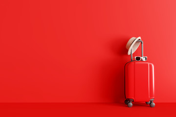 Suitcase with hat and sunglasses on red background. travel concept. minimal style. 3d rendering Fotomurales
