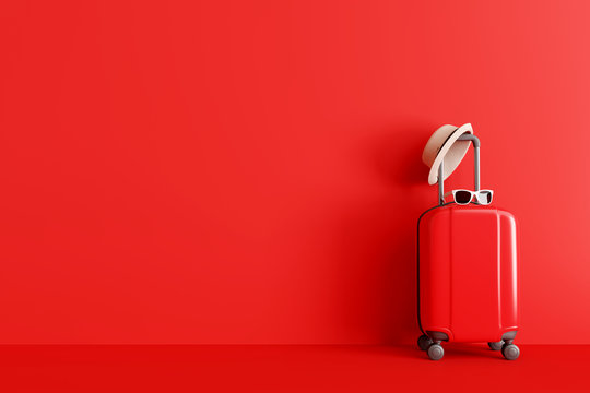 Suitcase with hat and sunglasses on red background. travel concept. minimal style. 3d rendering