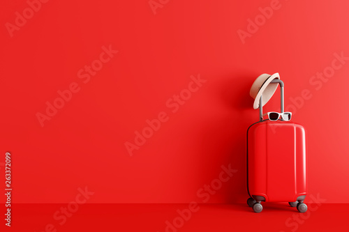 Wall mural Suitcase with hat and sunglasses on red background. travel concept. minimal style. 3d rendering