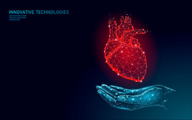 Low poly heart health day. Global cardiac awareness medicine banner anatomical health blood system test. Doctor online consultation vector illustration