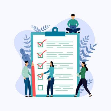 Survey report, checklist, questionnaire, business concept vector illustration