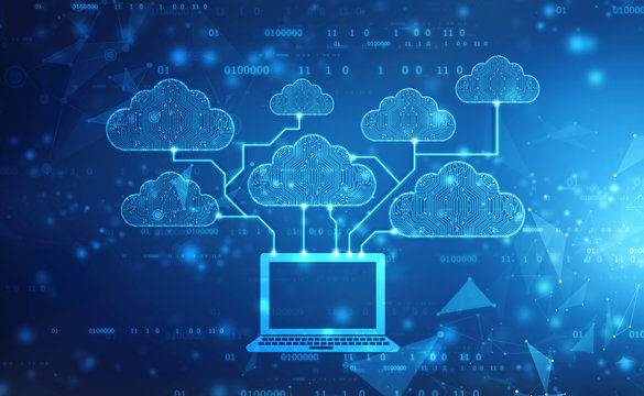2d rendering Cloud computing, Cloud Computing Concept, Cloud computing technology internet concept background