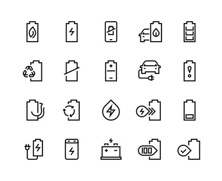 Battery line icons. Electric energy charger car charge low electricity level sign phone charging lithium recycle. Batteries accumulator vector set