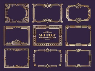 Art deco borders. 1920s golden frames, nouveau fancy decorative elements for vintage posters. Vector art deco ornament framed design set