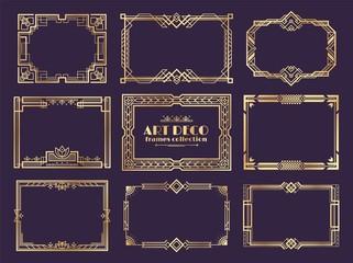 Art deco borders. 1920s golden frames, nouveau fancy decorative elements for vintage posters. Vector art deco ornament framed design set Fotobehang