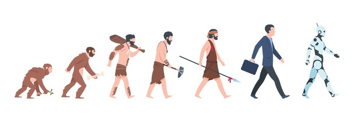 Human evolution. Monkey, caveman to businessman and cyborg cartoon concept, from ancient ape to man growth. Vector mankind primate evolution