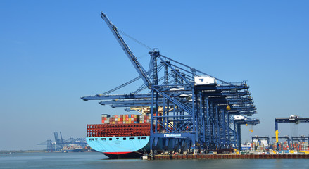 Large Container Ship being loaded at Felixstowe Port. Fotomurales