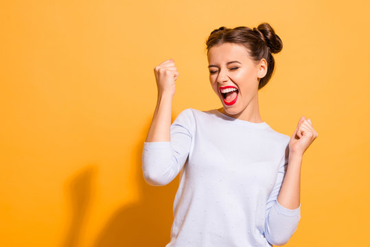 Portrait of her she nice-looking cool attractive lovely lovable winsome sweet crazy cheerful cheery girl having fun great breakthrough isolated on bright vivid shine yellow background