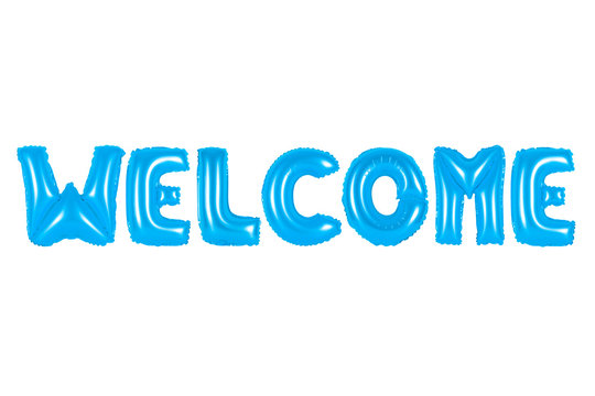 welcome in english alphabet from blue balloons