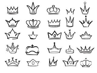Doodling crown. Ink hand drawn symbols of king elegant imperial monarch vector ink art. Princess crown and king elements illustration