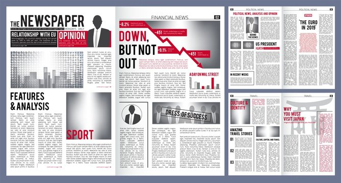 Newspaper template. Print design layout of newspaper cover headline and finance articles with place for text vector. Article press, information news, daily page illustration