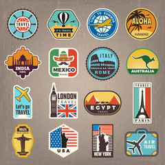 Travel stickers. Vacation badges or logos for travelers vector retro pictures. Illustration of travel vacation sticker badge india and mexico, london and italy