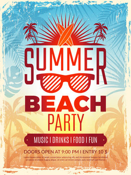 Summer retro poster. Vacation tropical beach summer party invitation retro placard vector template. Summer vacation banner, travel sea party, tour poster illustration