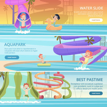 Water park banners. Aqua games funny pleasure for kids at pool playground with water slide and rubber castle vector cartoon pictures. Water game in pool aqua-park, banner entertainment illustration