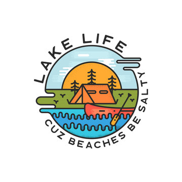 Lake Life Logo Design. Modern Liquid Dynamic Style. Travel adventure badge patch with quote - Cuz beaches be salty. Funny camping insignia label for print t-shirt. Stock vector isolate