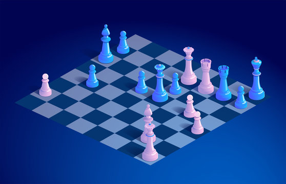 Chessboard with chess pieces. Chess board with chess on blue background. Vector 3d isometric illustration of a chessboard with chess game