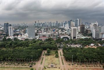 Fototapete - Jakarta downtown panoramic from nacional monument