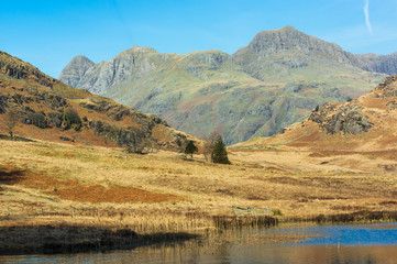 Langdale Pikes with Blea Tarn in the foreground