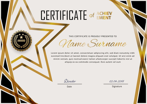 Official certificate with blue design elements. Business modern design. Gold emblem
