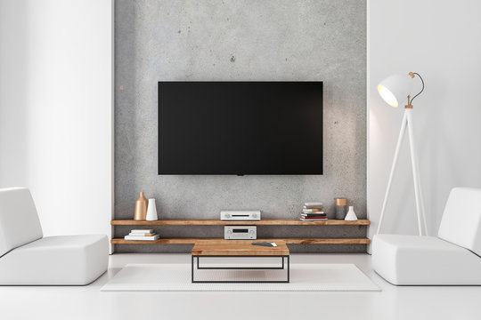 Smart Tv mockup hanging on the concrete wall in modern luxury interior