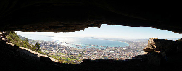 Cave on the Devil's Peak Table Mountain Hike in Cape Town, South Africa. Wall mural