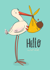 Hello world. Cartoon stork carrying a cute newborn black baby. Design template for greeting card or baby shower invitation. Hand drawn vector trendy illustration.