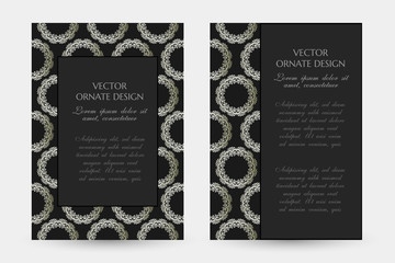 Silver classical motif. Luxury vertical posters with decorative frame and border on the black background.
