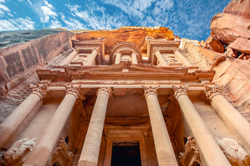 .incredible and mystical look at the Al Khazneh tomb. The Treasury tomb of Petra, Jordan - Image, selective focus