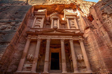 .incredible and mystical look at the Al Khazneh tomb. The Treasury tomb of Petra, Jordan - Image, selective focus