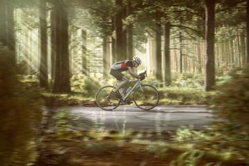 Rennradfahrer auf Waldstraße