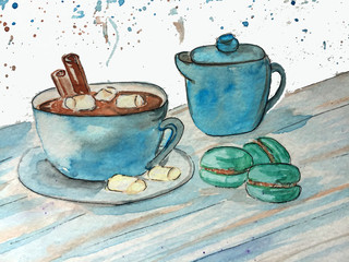cocoa mug with marshmallows and macaroons, hand drawing illustration for posters and cards