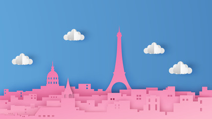 Illustration of the Paris city scene. The capital of France. Design in the form of paper art style. Beautiful Paris. paper cut and craft style. vector, illustration. Fototapete