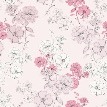 Soft pink delicate blooming hand drawn pencil line skecth seamless pattern vector design for fashion,fabric,web,card,wallpaper and all prints