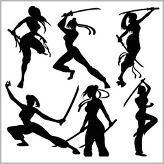 silhouettes - Girls with katana - mma woman fighter.