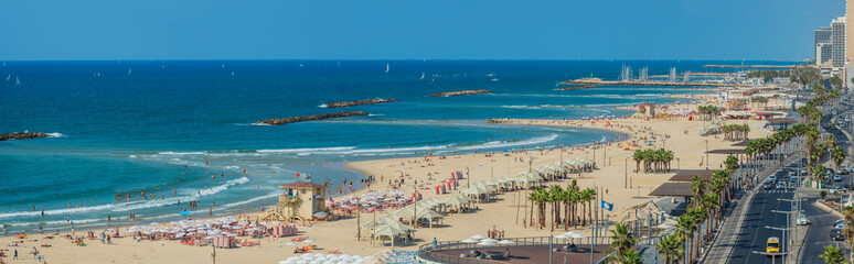 Large Panoramic view of the Tel-Aviv beach on Mediterranean sea, Israel