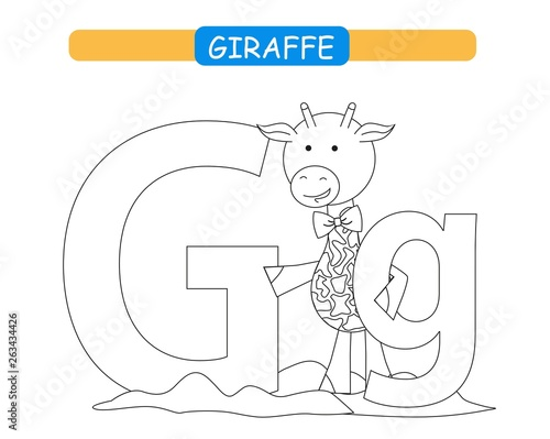 photograph about Letter G Printable named Letter G and amusing cartoon giraffe. Coloring website page. Pets
