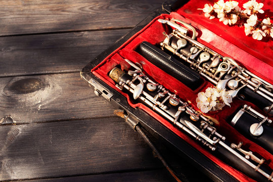 Musical wind instrument oboe in original red case. Place for text.